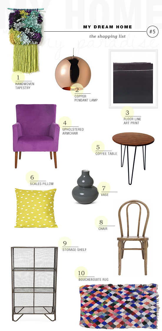 Shopping list for an eclectic casual city apartment with bright colors | My Paradissi