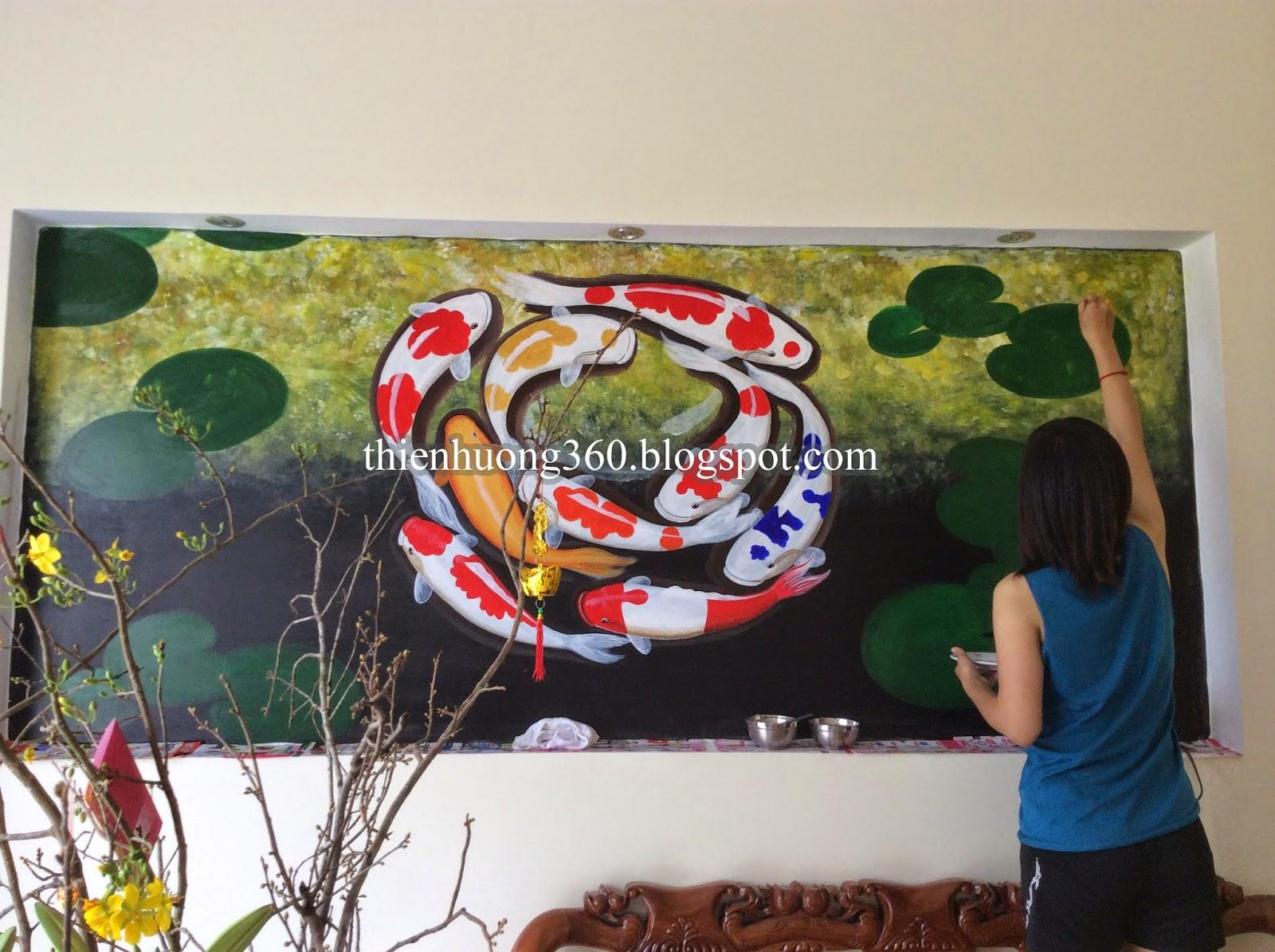 Vẽ Tranh tường Cửu ngư quần hội