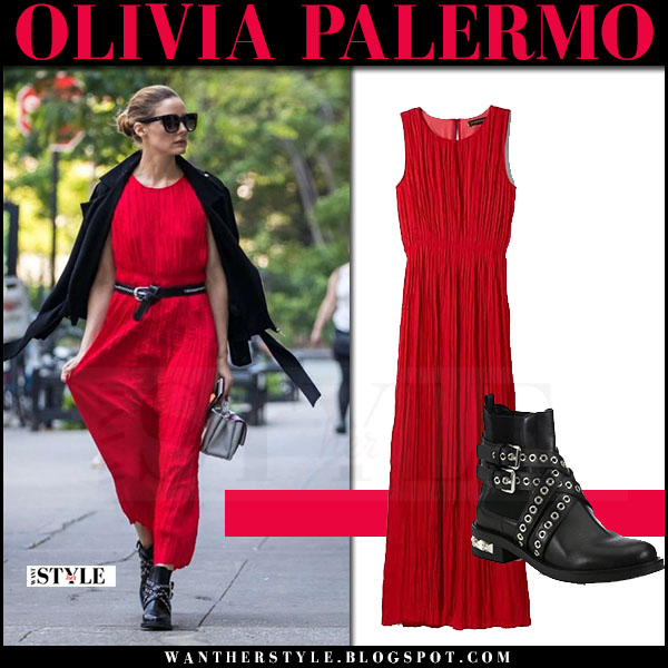 Olivia Palermo in red pleat maxi dress and black ankle boots miu miu what she wore may 18 2017