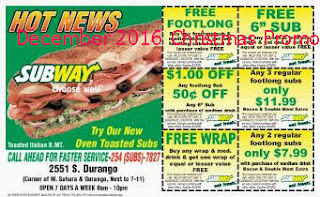 free Subway coupons december 2016