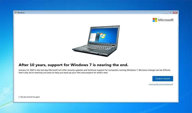 Kini Pengguna Windows 7 Mulai Menerima Notifikasi Dukungan Sistem