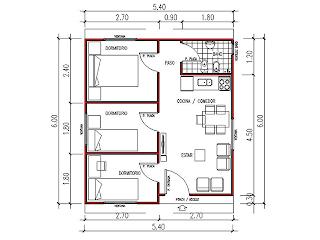 vista en planta vivienda prefabricada