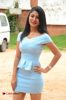 Actress Ankitha Jadhav Pictures in Blue Short Dress at Cottage Craft Mela 0003.JPG