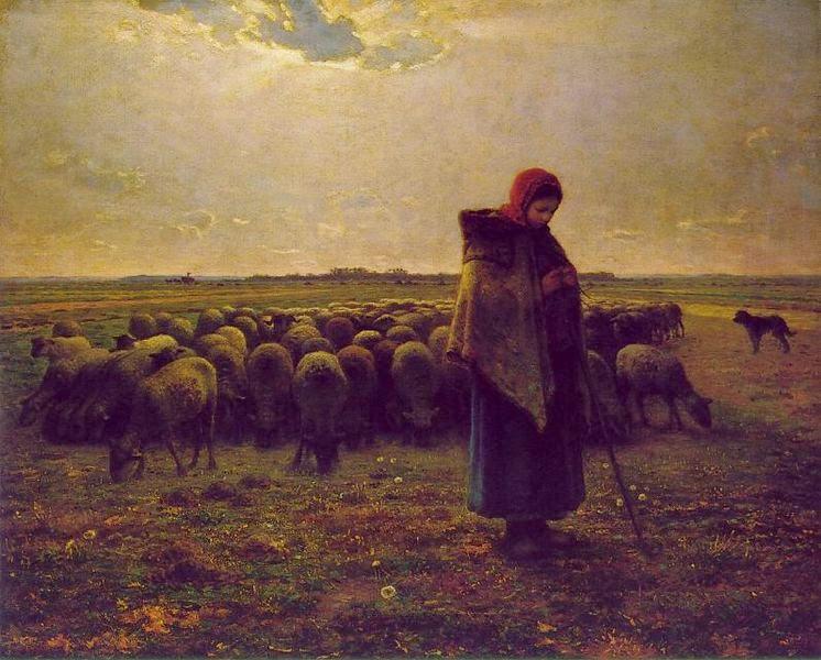 Pastora e seu Rebanho - Millet, Jean-Francois e suas principais pinturas | Realismo