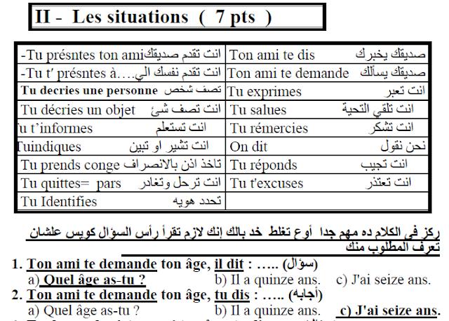 تحميل اقوي مراجعة ليلة الامتحان في اللغة الفرنسية للصف الاول الثانوي الترم الاول 2018
