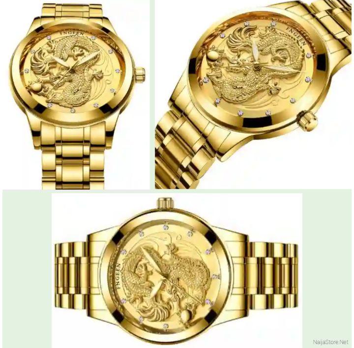 Fngeen Men's Watch: Classic Waterproof Gold-Dragon Quartz Wristwatch