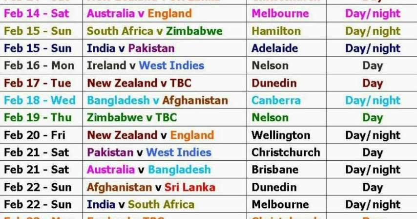 ICC has announced Cricket Worldcup 2015 Schedule | Satellites Updates