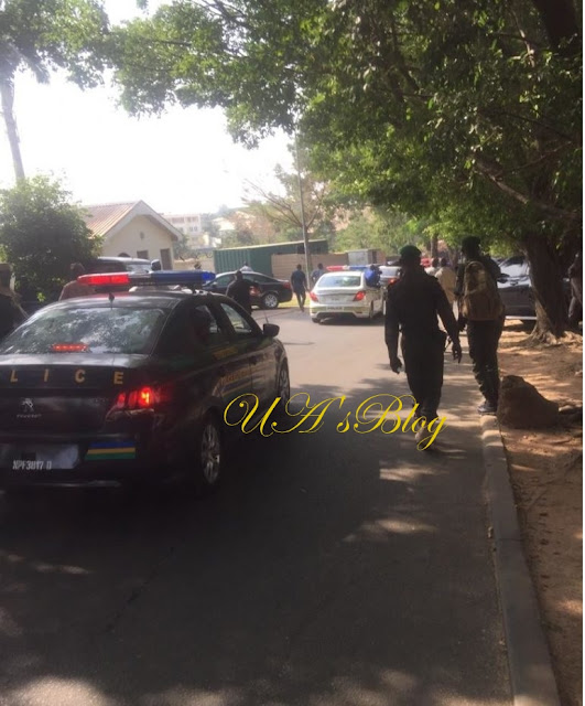 PHOTO: Dino Melaye Steps Out, Police Storm His Residence To Arrest Him