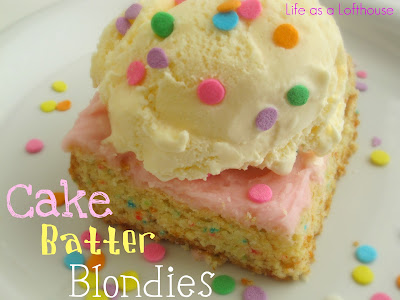 Cake Batter Blondies are made with Funfetti cake mix and are topped with a creamy vanilla frosting. Life-in-the-Lofthouse.com