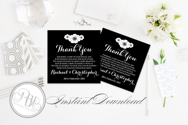 black and white anemone thank you card by rbh designer concepts