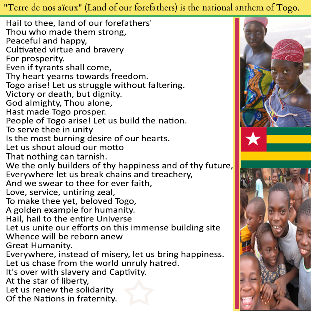 Land of our forefathers national anthem of the African Country of Togo
