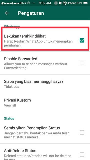 Cara Menyembunyikan Status Online di Whatsapp 6
