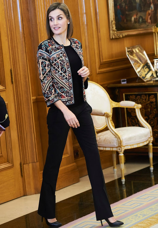 Queen Letizia Attended Audience At Zarzuela Palace
