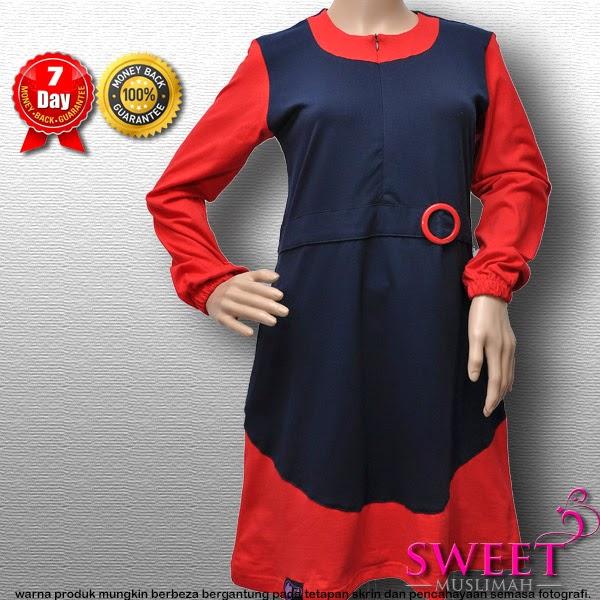 BAJU MUSLIMAH MT81 Biru Merah (KOLEKSI MUTIF) - SOLD OUT
