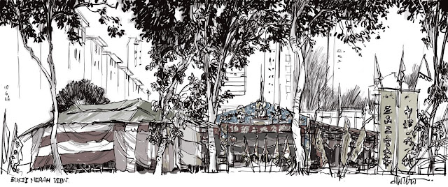 Digital sketch of Bukit Merah View with some festival