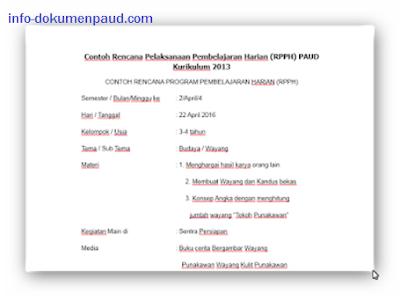 RKH/RPPH TK/PAUD Usia 3-4, 4-5 dan 5-6 tahun Lengkap 2017/2018