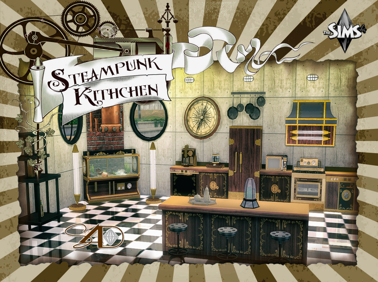 Sims 4 cc 39 s the best steampunk kitchen by sims 4 designs for Kitchen ideas sims 4