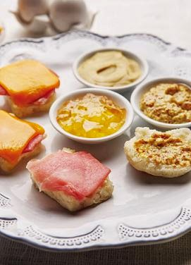 Around the Table  ham and cheddar biscuits with apple jelly