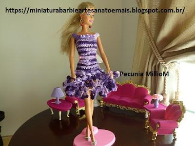 Vestidinho de Croche Com Pontas de Flores Para Barbie Por Pecunia MillioM 30