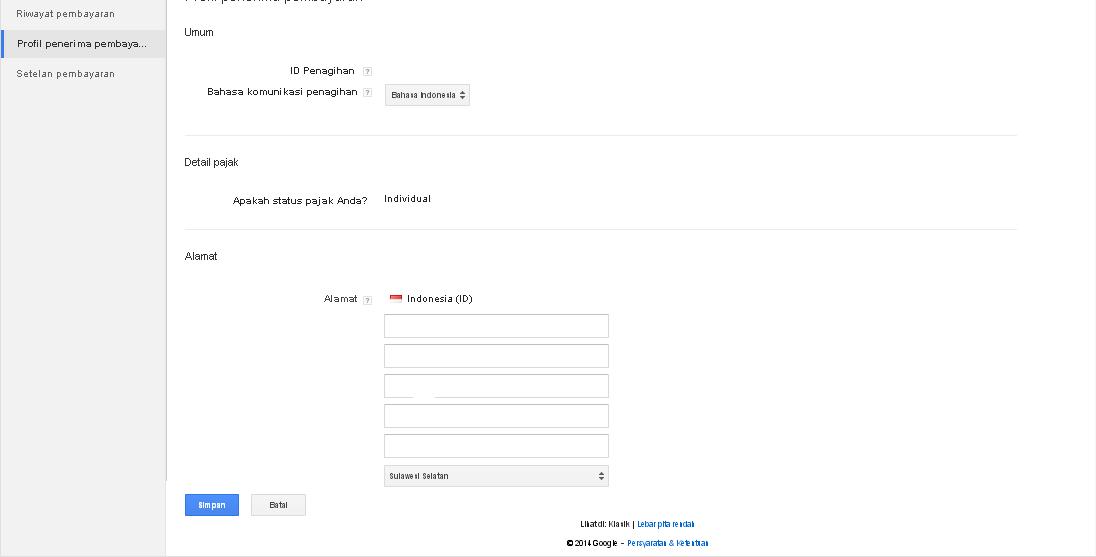 cara mudah ubah alamat adsense sederhana dan simpel