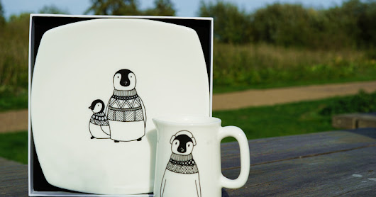Penguins on Parade | A range of ceramics by illustrator Helen Russell
