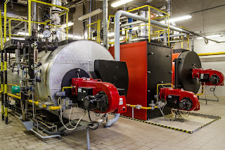 gas fired steam boilers in industrial facility