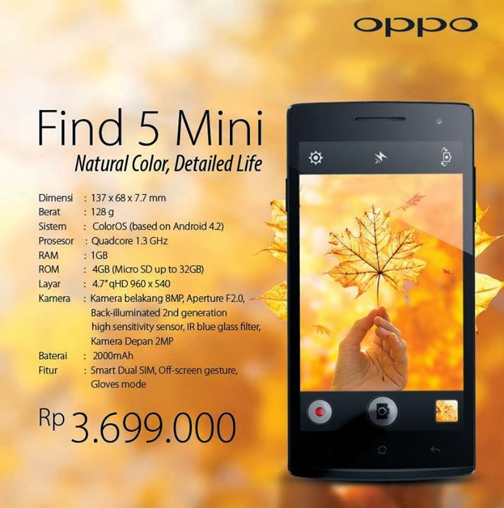 Oppo, OPPO Find 5 Mini, android, ColorOS, ponsel, smartphone, hp terbaru