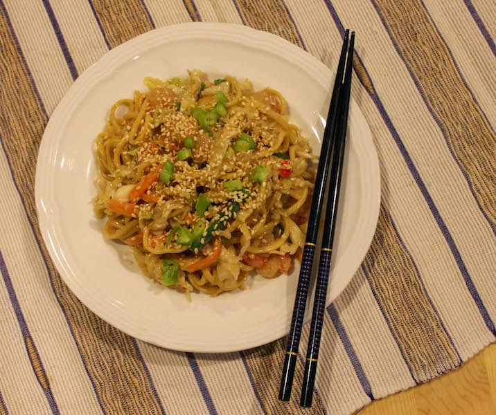 Food Lust People Love: Chinese egg noodles with shrimp and crispy vegetables make a tasty, nutritious meal when tossed with savory peanut sauce. Great room temperature or cold.