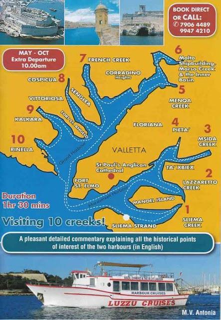 mapa del crucero de los dos Puertos de la Valeta