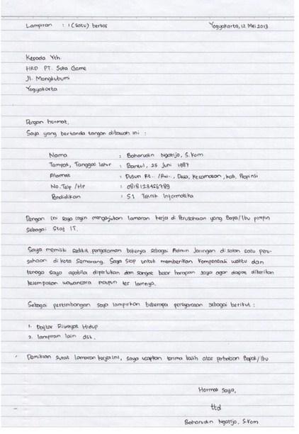 Contoh Surat Cv Tulisan Tangan