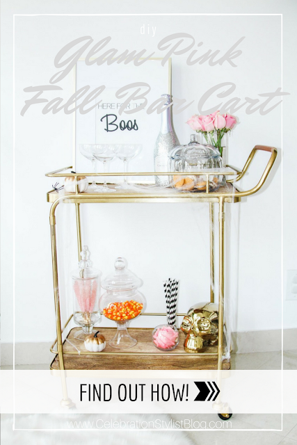 Glam Pink Fall Bar Cart Ideas by popular Florida blogger The Celebration Stylist