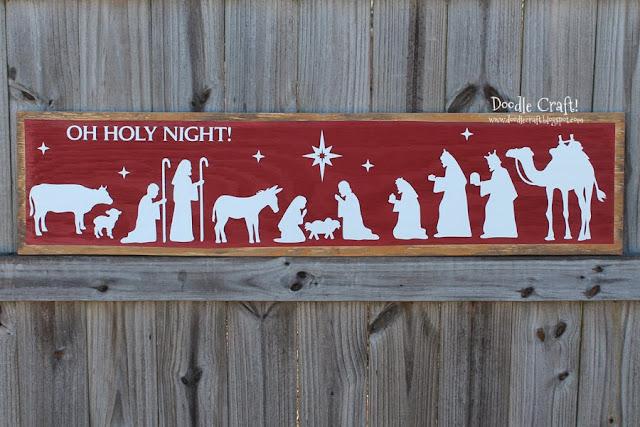 Doodlecraft Oh Holy Night Christmas Nativity Sign