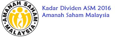 jumlah Dividen ASM 2016 Amanah Saham Malaysia
