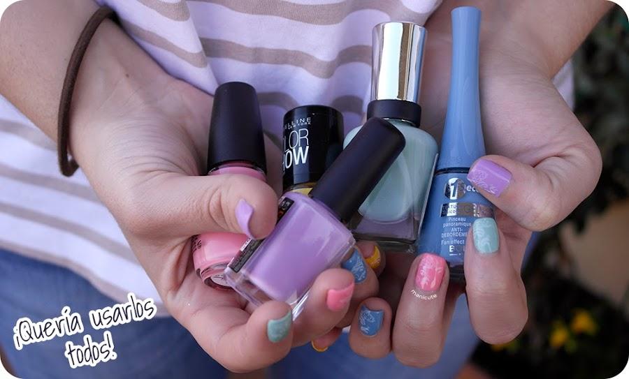 Nail art primavera tonos pastel