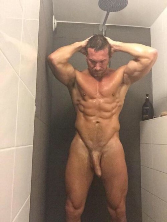 Nude shower stud with a big penis