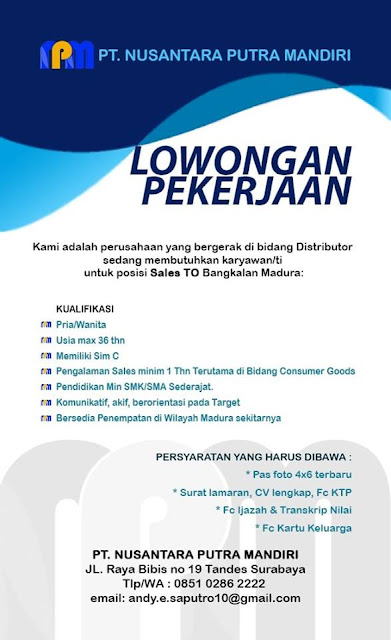 lowongan kerja sales TO PT Nusantara Putra Mandiri