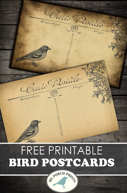 Freebie Friday: Printable Bird Postcards from My Porch Prints