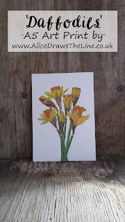 Daffodils A5 Art Print by Alice Draws The Line