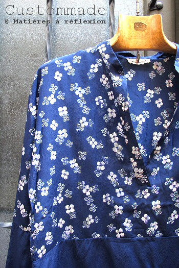 Chemise soie bleu Gadira Custommade