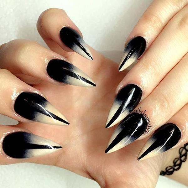 40 black nail art ideas fashion hippoo black and glitter gold nail art design gives your matte black nails some attitude by adding v shaped glitter gold polish in the middle prinsesfo Images
