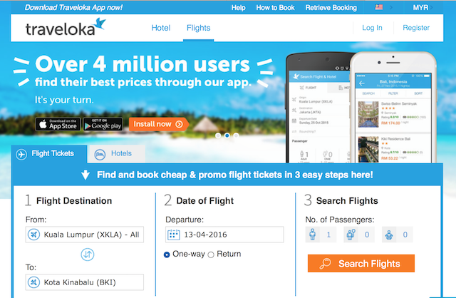 Traveloka's main page on their website, straight to the point