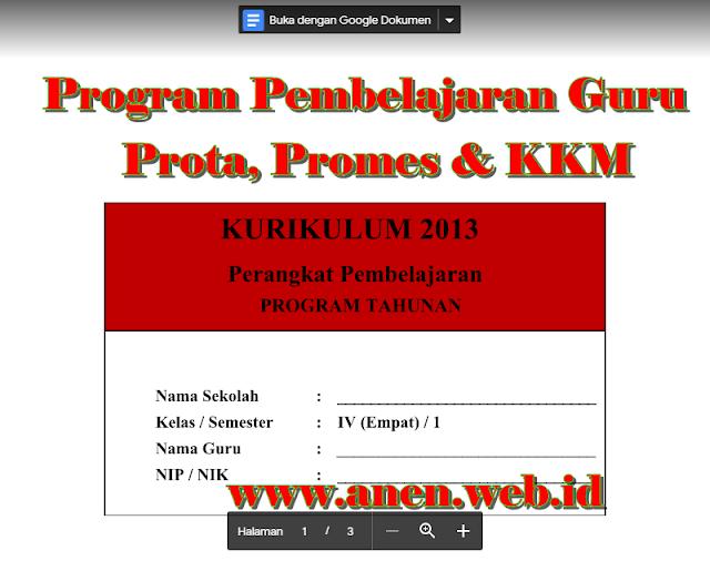 Perangkat Guru Prota, Promes dan KKM Kelas 4 Kurikulum Revisi 2016-2017