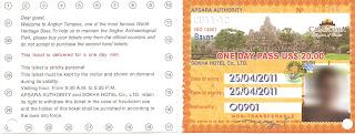 Ticket entry Angkor Temples - Cambodia