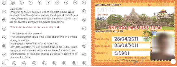 Ticket entrada Templos de Angkor - Camboya