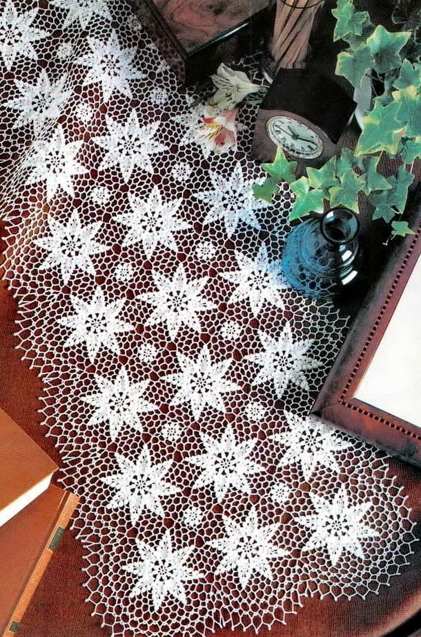 Crochet circle motif tablecloth, Crochet lace table runner