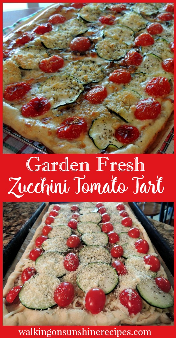 Rustic Tomato Zucchini Tart with mozzarella cheese and carmelized onions from Walking on Sunshine Recipes.