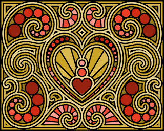 Swirly heart coloring page- blank available for free for coloring