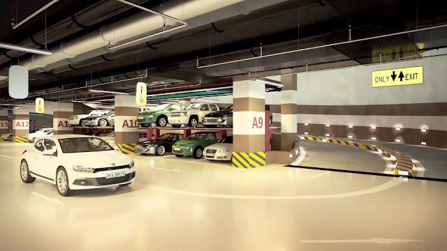 Tầng hầm cung cấp diện tích để xe lớn