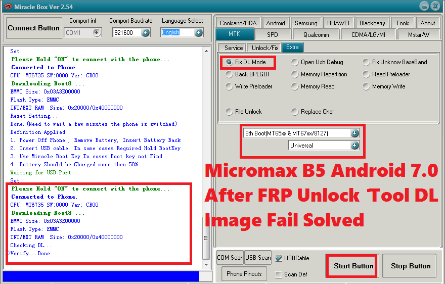 Micromax Bharat 5 Android 7 0 Free FRP Unlock and Tool DL Image Fail
