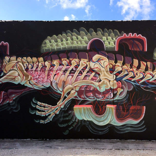 """""""Dissection Of An Alligator"""" New Street Art Mural by Nychos in Miami, USA.3"""